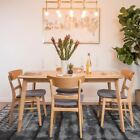 Helen Mid Century Fabric & Wood Finish 5 Piece Dining Set