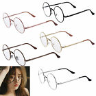 Unisex Big Round Metal Frame Clear lens Vintage Retro Geek Fashion Glasses Specs