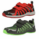 Boys Clarks Cross Hype Black/Green Or Red Synthetic Trainers