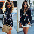 Summer Women Long Sleeve Chiffon Floral Casual T Shirt Loose Blouse Fashion Tops