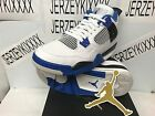 Kids Air Jordan 4 Retro GS Motorsport White Game Royal Black 408452-117 ON HAND
