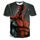 Summer 3D Deadpool Print Funny T-Shirt For Men Casual Round Collar Graphic Tee