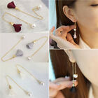 Newly Women Gold Silver Plated Crystal Flower Drop Long Dangle Chain Earrings image
