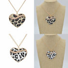 Sexy Lady Gold Chain Leopard Pattern Heart Pendant Event Necklace Statement Gift