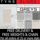 """**BARGAIN** From 99p Grey Charcoal 3.5"""" Vertical blind SLATS LOUVRES"""