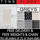 """REPLACEMENT SLATS **From 99p** Grey Charcoal 3.5"""" For Vertical Blinds - BARGAIN"""