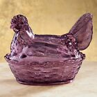 Retro Country Hen Candy Jar Amethyst Vintage Glass Nut Dish Depression Style Lid