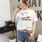 Letter Summer Fashion T-Shirt Short Sleeve Pullover Korean Women Loose Blouse