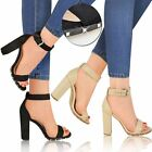 New Womens Ladies Block High Heel Stud Ankle Strap Sexy Open Toe Sandals Size