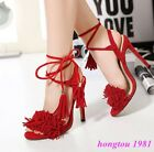 Fashion Roman Womens Lace up Fringe High Heels Sandals Shoes Cross Strappy Party