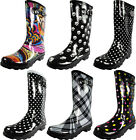 New Womens Rain Boots Rubber Printed Mid Height Wellie Mid Calf Snow Rainboot