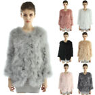 Women Winter Real Ostrich Turkey Fur Feather Coat Jacket Fashion New 7 Colors