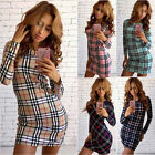 Women Summer Long Sleeve Bodycon Printed Party Evening Cocktail Short Mini Dress