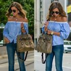 Fashion Women Summer Off Shoulder Long Sleeve Casual Loose T-Shirt Tops Blouse