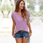 Womens Tassel Short Sleeves Loose T-Shirt Ladies Summer Casual Tops Blouses