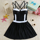 Ladies One-Piece Sexy Swimsuit Stripde Backless Camisole Dresses Skirts Swimwear