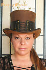 Steampunk Hat Victorian Classy Sexy Corset Gothic Leather SHORT Top Hat 2 Tones