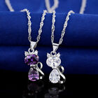 Clear Purple Crystal Cat Pendant Silver Necklace for Women Platinum Plated