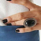 1pc Exaggerate Women Jewelry Huge Oval Shaped Gemstone Silver Rings Gift