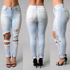 Women's Denim Skinny Long Pants High Waist Stretch Trousers Hollow Pencil Jeans