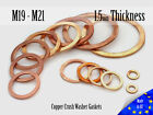 M19/M21 Thick 1,5mm Metric Copper Flat Ring Oil Drain Plug Crush Washer Gaskets