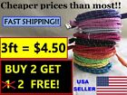 3ft BRAIDED USB Charger Cable Data Sync Cord for iPhone 5, 6, 7  a lot of colors