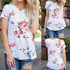 Fashion Women Short Sleeve Floral Print Summer Blouse Casual Tops Loose T Shirt
