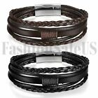 Men Women Leather Bracelet Handmade Multilayer Bangle Wristband Magnetic Clasp