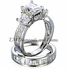 925 Sterling Silver 14K Gold Diamond Wedding Set 3 Stone Bridal Engagement Rings