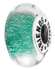 Forever Friends Charm - Sterling Silver & Green Murano Glass Bead - Ideal Gift