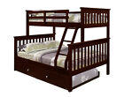 TWIN OVER FULL KID'S BUNK BED W/ OPTIONAL TRUNDLE AND/OR TENT - CAPPUCCINO
