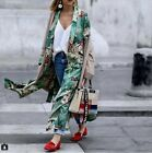 WOMAN PRINTED KIMONO COAT CONTRAST BELT PIPING GREEN lONG Jacket  NEW S M L Hot