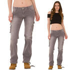 New Ladies Womens Grey Faded Wide Loose Denim Combat Pants Stretch Cargo Jeans