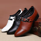Men Business Dress Formal Leather Shoes Flat Oxfords Loafers pointy toe Shoes