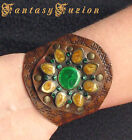 Leather Flower Cuff Bracelet Fashion Tooled Design