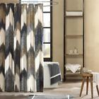 "Luxury Navy Blue & Taupe Broken Chevron Cotton Fabric Shower Curtain - 72"" x 72"""