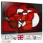 LARGE LOVE ROMANTIC ABSTRACT CUBIST RED HEART - CANVAS WALL ART PRINTS PICTURES