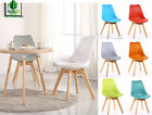 Tulip Dining Chair, Eiffel Inspired, Solid Wood Legs ABS Plastic, Padded Seat