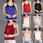 UK6-14 Women Silk Satin Lingerie Camisole Cami Plain Strappy Tank Vest Top Shirt