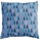 """Blue Leaves Contemporary Cotton Cushion Cover Size 16"""" x 16"""""""