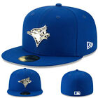 New Era Toronto Blue Jays Blue Fitted Hat Metallic Silver Badge Team Logo Cap