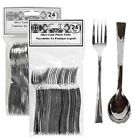 """24 Mini Silver-Look Plastic Forks and Spoons (4.5"""")"""