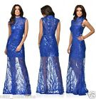 ROYAL BLUE TREE EFFECT SEQUIN SHEER FISHTAIL MAXI PROM EVENING PARTY DRESS 8-16