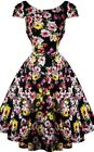 Hearts and Roses H&R Retro Pin Up Rockabilly Deanna 9510 Black Floral Long Dress