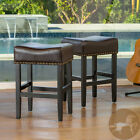 Chantelle 26-Inch Studded Accent Leather Counter Stools (Set of 2)