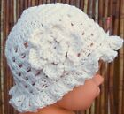 PREEMIE BABY GIRL CROCHETED SUN HAT 100% COTTON knit small early micro cream any
