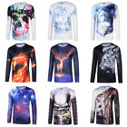 Men's Undershirt 3D Long Sleeve T-shirts Casual Tops Tee O Neck Top t shirts