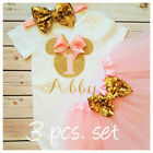 First birthday outfit ,Minnie Mouse Inspired outfit,Pink and gold set,Handmade