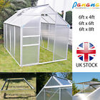 NEW Aluminium Greenhouse Polycarbonate with Base Sliding Door UV Safe 3 Sizes UK
