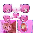 Pet Cat Kitty Rabbit Foldable Play Cube Tent and Tunnel Pink